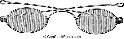 Glasses, C bridge, vintage engraving.