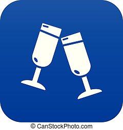 Glasses champagne icon blue vector