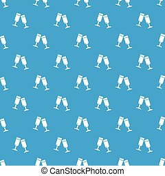 Glasses champagne pattern vector seamless blue