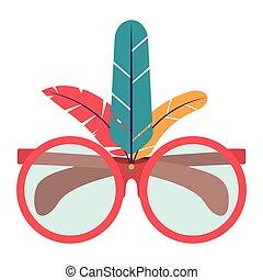 glasses feather carnival design