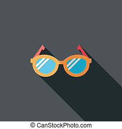 Glasses flat icon with long shadow, eps10
