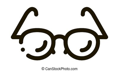 Glasses For Good Vision Icon Animation. black Optical Glasses Optometrist Equipment For Better Eyesight animated icon on white background