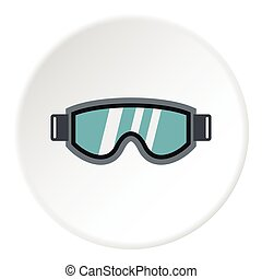 Glasses for snowboarding icon, flat style