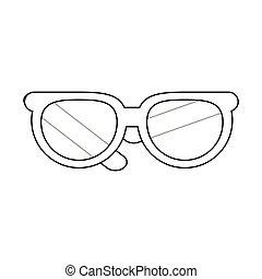 Flat Design Round Frame Glasses Icon Vector Illustration