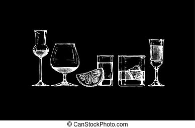 Vector set of glasses goblets in ink hand drawn style. isolated on black.