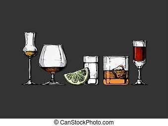 Vector set of glasses goblets in ink hand drawn style. ?olor illustration isolated on black.
