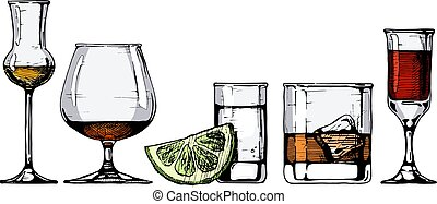 Vector set of glasses goblets in ink hand drawn style. ?olor illustration isolated on white.