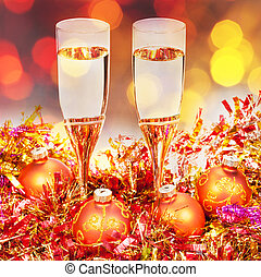 glasses, gold Xmass balls on blurry background 4