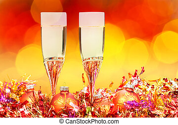 glasses, gold Xmass balls on blurry background 5