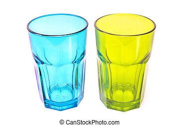 Glasses green and blue isolated on white