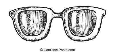 Glasses Horn-rimmed Stylish Accessory Ink Vector. Sun ...