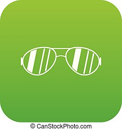 Glasses icon digital green