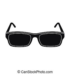 Glasses icon in black style isolated on white background. Library and bookstore symbol stock vector illustration.