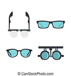 Glasses icon set, flat style