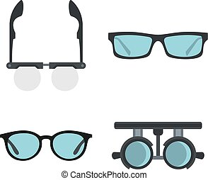 Glasses icon set, flat style