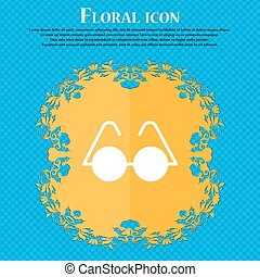 Glasses icon sign. Floral flat design on a blue abstract background with place for your text. Vector