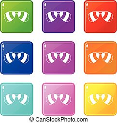Glasses icons 9 set