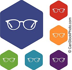 Glasses icons set