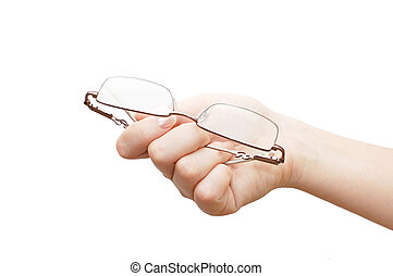 Glasses in a female hand  isolated