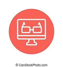 Glasses in computer monitor thin line icon
