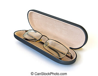 Glasses in spectacle case on white background