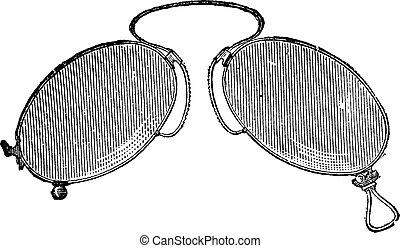 Glasses - Japanese nose clip, vintage engraving.