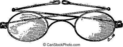 Glasses, k bridge, vintage engraving.