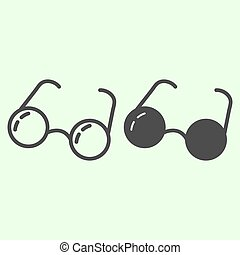 Glasses line and solid icon. Round retro eyeglasses outline style pictogram on white background. Optical spectacles for education, study and reading for mobile concept and web design. Vector graphics.