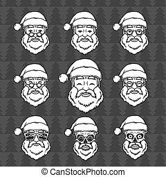 glasses., mask., 愉快, 新, 克勞斯, 聖誕老人, t恤衫, elements., 集合, 聖誕節, 臉, 葡萄酒, 微笑, 設計, 輪, illustration., 年, 聖誕節