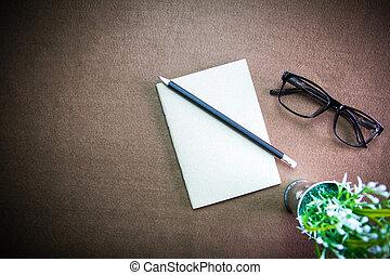 glasses., negócio, desktop:, lápis, caderno, vignette, acessórios