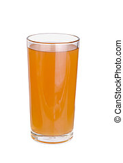 glasses of apples fruit juice on white background