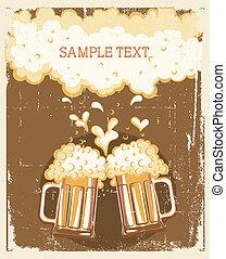 Glasses of Beer background.Vector grunge Illustration for text