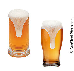 Glasses of beer isolated on a white