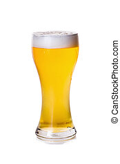 glasses of beer isolated on white background.