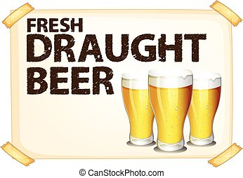 Glasses of beer - Poster of fresh draught beer