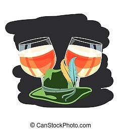 glasses of beers and tyrolean hat oktoberfest vector...