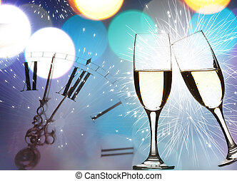 Glasses of champagne against holiday lights