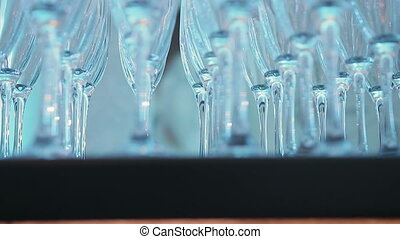 glasses of champagne are on the table
