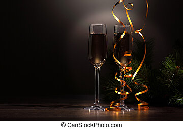 Glasses of champagne at new year party