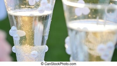 glasses of champagne close up.