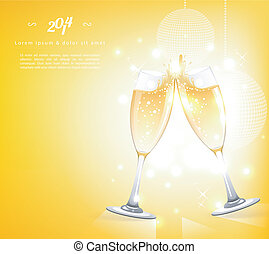 Glasses of champagne - Vector illustration of Glasses of...