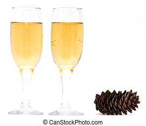 glasses of champagne in the new year
