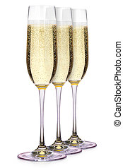 Glasses of champagne isolated on a white