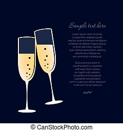 Glasses of champagne isolated on dark blue background