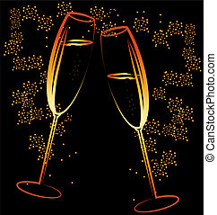 on a dark background is an abstract painting: two celebratory glass of champagne