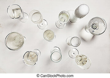 Glasses of champagne on a white background. View from above