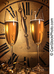 Champagne ready to bring in the New Year - Glasses of...