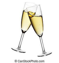 Glasses of champagne isolated over white background