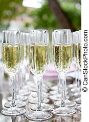 Glasses of champagne white wine. Glass glasses with colored drinks on the table