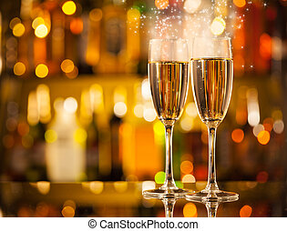 Glasses of champagne with blur background - Celebration ...